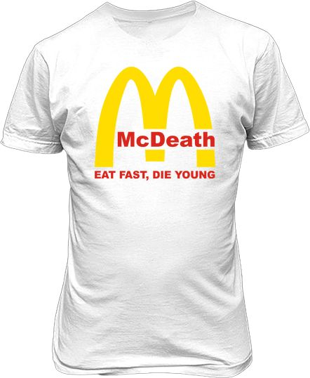 Футболка мужская. McDeath. Eat fast, die young.