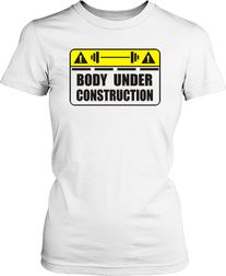 Футболка жіноча. Body under construction.