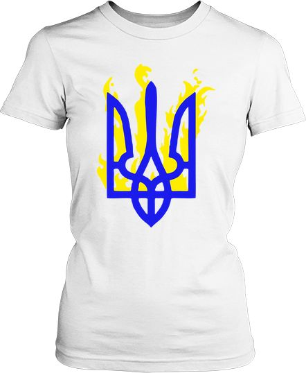 Женская футболка Тризуб в огне. Футболки женские Патриотические ... 62d981694bba8